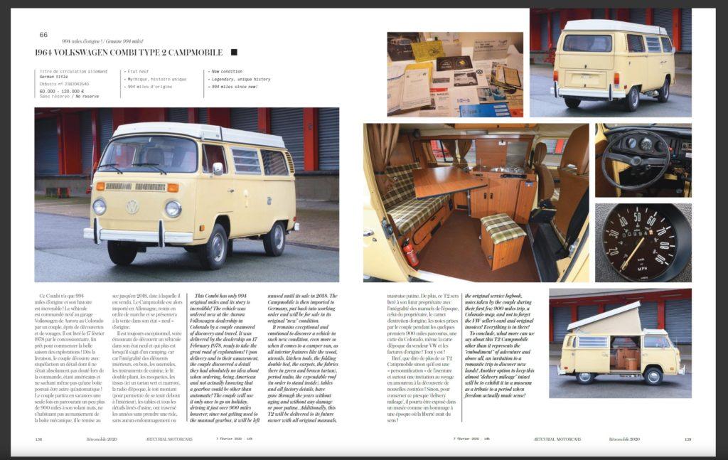 Beschreibung im Auktionskatalog der Rétromobile 2020 in Paris