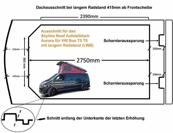 Schablone für das Aufstelldach für Busse mit langem Radstand (LWB)