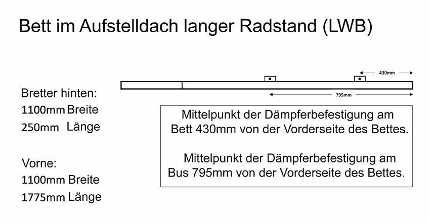 Abmessungen für das Standard-Bett für Selbstbauer. In unserem Bus ist die Bi-Fold-Ausführung