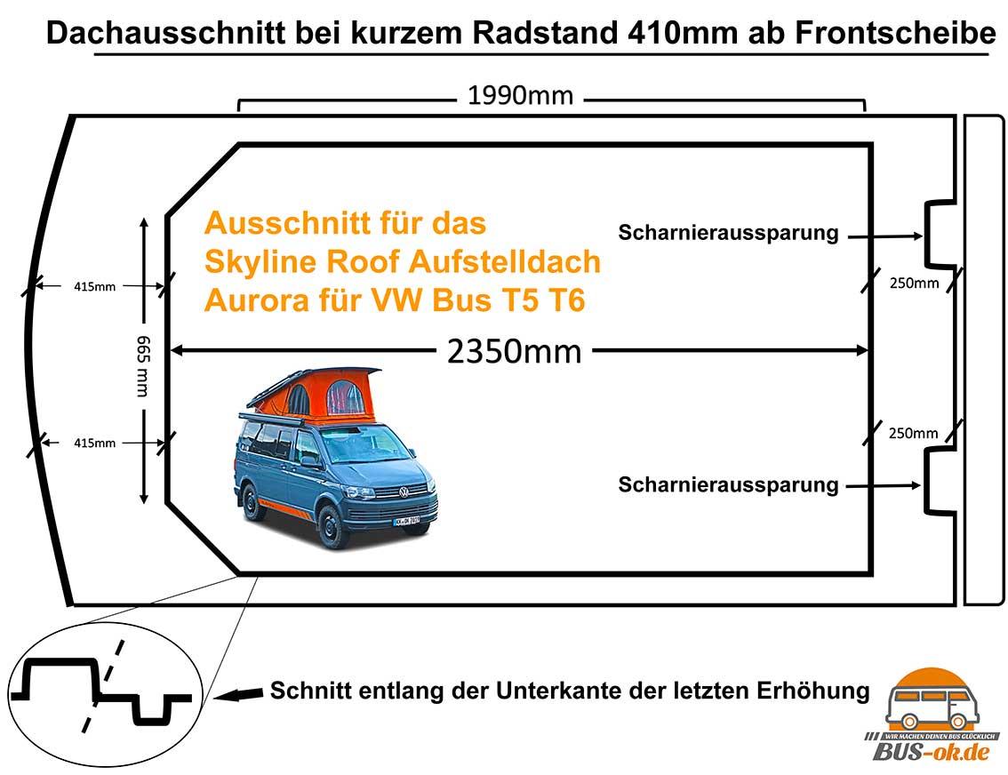 Damit beginnt die Arbeit: Schablone des Dachausschnittes beim VW Bus T5 T6