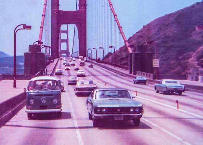 Strassen von San Francisco: Double-Double fährt Ende der 70er Jahre über die Golden Gate Bridge