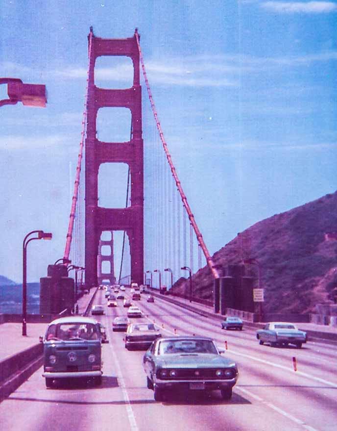 Nur noch 30km bis nach Hause: Double-Double fährt 1979 über die Golden Gate Bridge nach San Francisco.