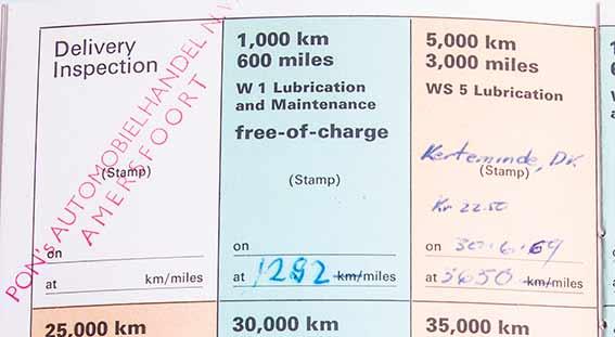 Alles schön im Bordbuch dokumentiert: Die 5000km Inspektion in Dänemark