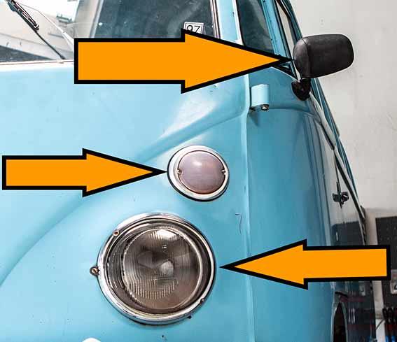 Eingebrochen, abmontiert und gestohlen: Scheinwerfer, Blinker und Aussenspiegel des VW Bus T1 Brasil