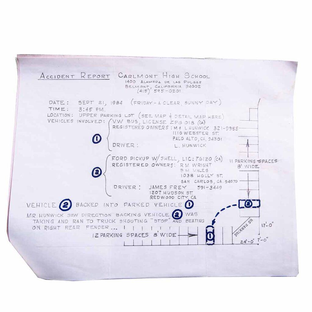 Ordnung muss sein: Unfallbericht vom 21.9.1984 zwischen VW Bus und Ford Pick-up