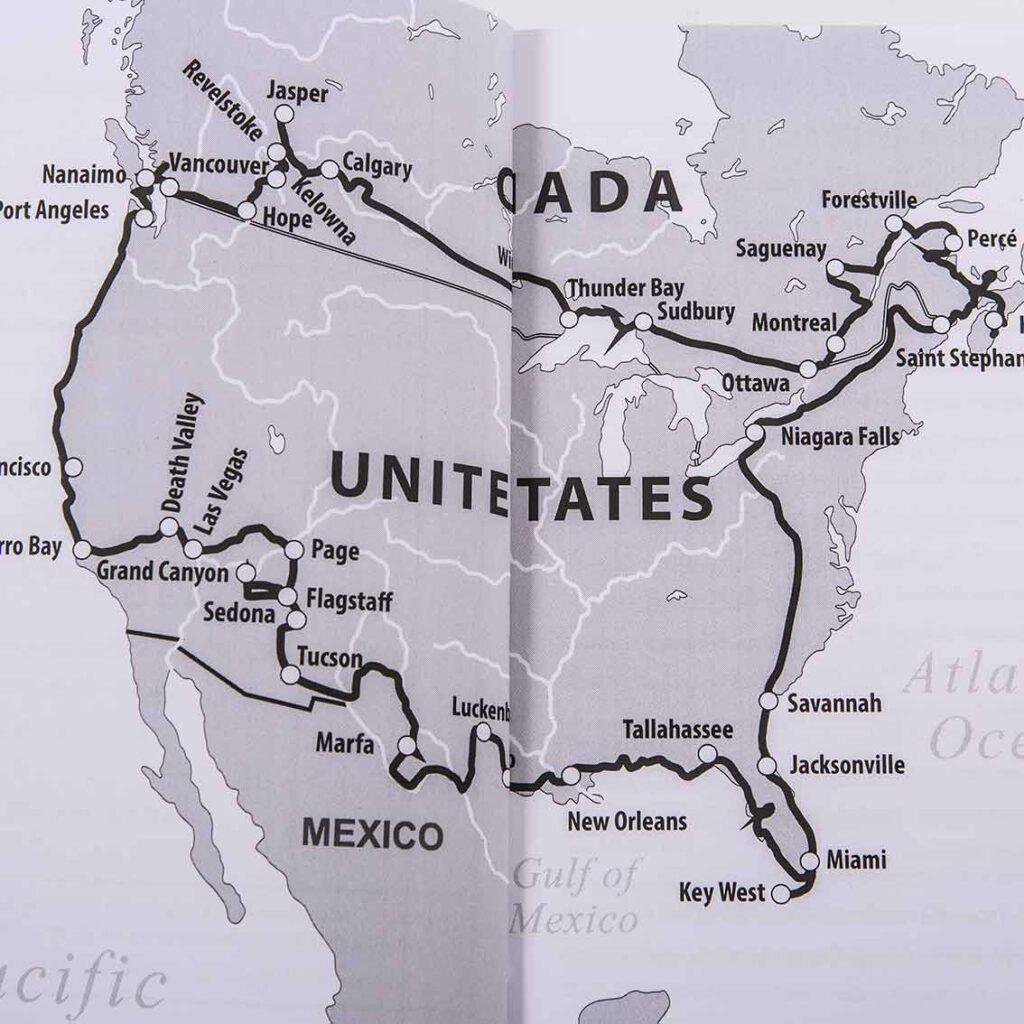 Einmal durch Kanada und die USA: Die Strecke des gelben Bullis von der Post und Renate mit Bernhard und Hund Jonny.